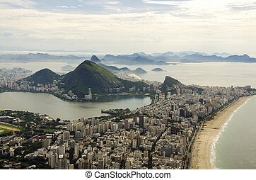 Sunset view of mountain Sugar Loaf and Botafogo in Rio de Janeiro. Brazil