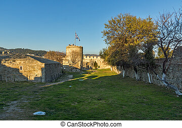 Sunset view of Ruins of fortress in Kavala, East Macedonia and Thrace,