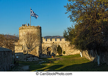 Sunset view of Ruins of fortress in Kavala, East Macedonia and Thrace