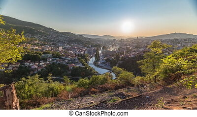 Sunset view of Sarajevo from most popular panoramic spot in ...