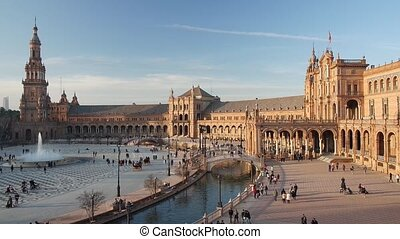 Spain Square or Plaza de Espana - Sunset view of Spain ...