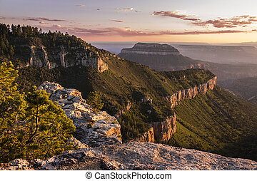 Sunset View of the Grand Canyon North Rim from Locust Point