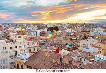 Sunset view of Valencia. Spain