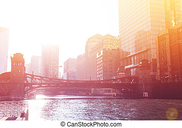 Sunset view over the Chicago river and downtown