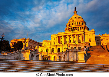 Sunset view photo of US congress Capitol Building