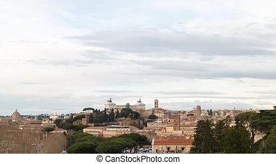 SunSet, Vittorio Emanuele II. Zoom. Rome, Italy. TimeLapse