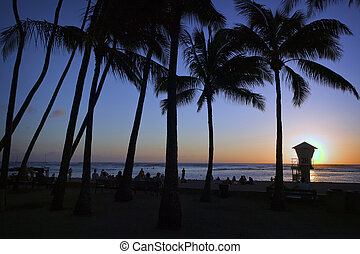 The sun sets at Waikiki Beach while locals and tourists enjoy the last of a beautiful day on Oahu in the Hawaiian Islands.