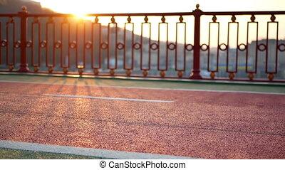 Sunset walk people feet