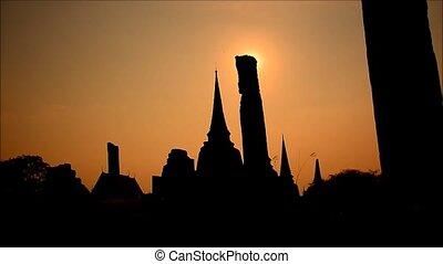 Sunset Wat Chaiwatthanaram Ayutthaya Thailand.
