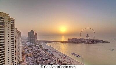 Sunset waterfront overview Jumeirah Beach Residence JBR...