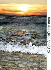 Wave on the shore at sunset