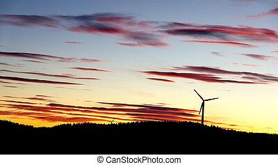 Sunset windmills
