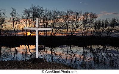 Sunset Winter Cross