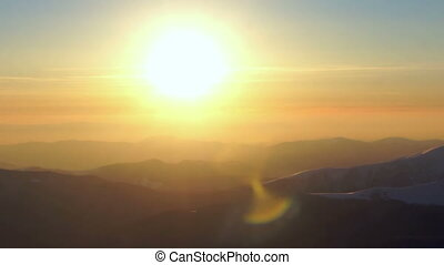 Sunset winter mountain sun landscape