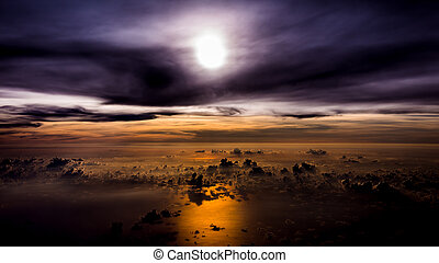 sunset with a height of 10 000 km. Dramatic sunset. View of suns