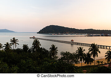 Sunset with a view over Pier - Ko Chang, Thailand, April 2018
