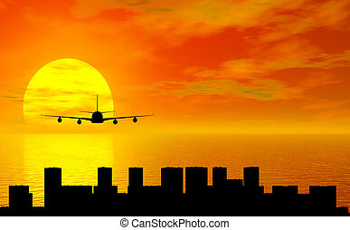 sunset with airplane