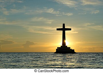 Sunset with cross.