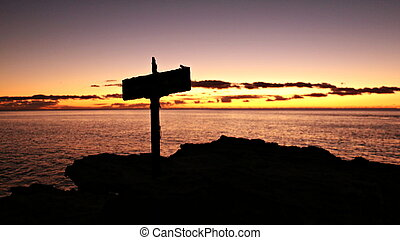Sunset with Cross Silhouette, Oahu