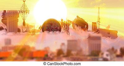 sunset with Landmarks from Jeddah