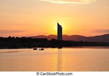 Sunset with Millenium Tower in Vienna