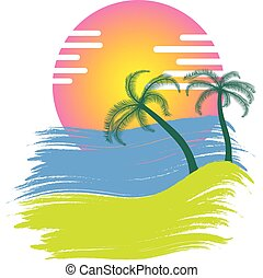 sunset with palm trees vector illustration