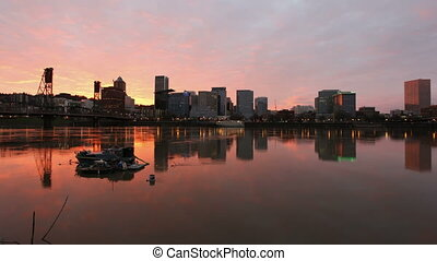 Colorful Sunset along Willamette River with Cityscape and Hawthorne Bridge in Portland Oregon Time Lapse 1920x1080