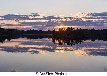 sunset with reflections