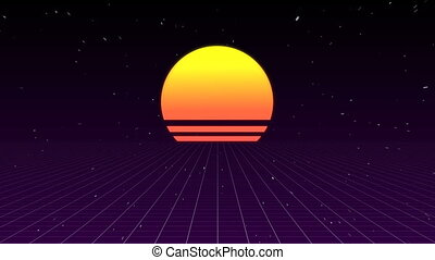 Sunset with sparkling background - Digitally generated of...