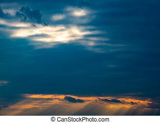 Sunset with sun rays