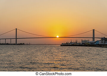 Sunset with The Golden Bridge in Maputo, Mozambique