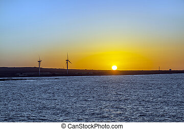 sunset with wind power generators in Fuerteventura at the ocean