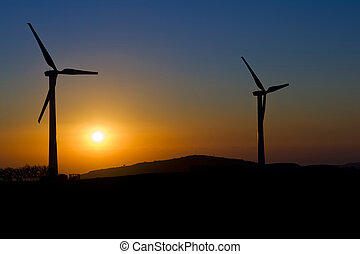 Sunset with windmills
