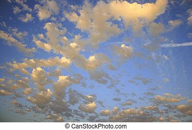 sunset yellow-blue sky