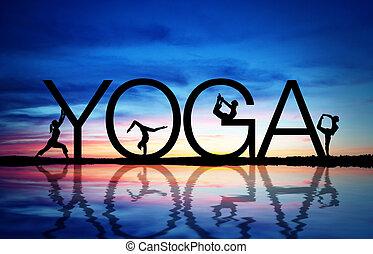 Sunset Yoga - Sunset with yoga sign and women exercising.