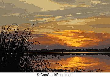 sunset_1 - morning sunrise over Laos at left side of Khong...
