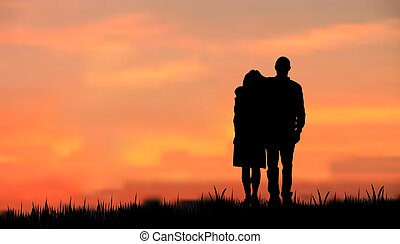 sunset/sunrise, contre, silhouette, couples