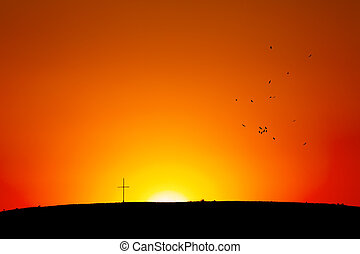 sunset/sunrise, cruz, colina