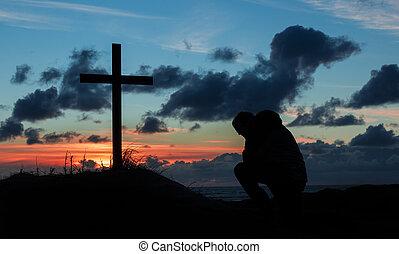 Sunsetting Praying Man Cross