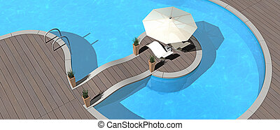 summer vacations image - swimming pool, sunshade and deckchairs - 3d render