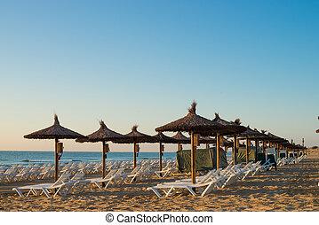 Sunshades early morning on Carabassi beach, Costa Blanca, ...