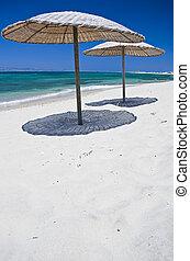 Sunshades on the Beach, taken in Naxos, Greece