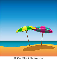 Sunshades - Two Parasols on Beach with Shade