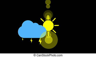 Sunshine and cloud and thunderstorm icon animation with black background. Animation with Alpha (transparent background) for easy use in your video! Format: Quik Time. Channels: RGB+Alpha. Video Codec: Apple Pro Res 4444. Depth: Millions of Colors+. Icon design. Video Animation. Bright Sun Isolated Cartoon Animation
