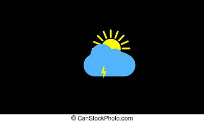 Sunshine and cloud and thunderstorm icon animation with...