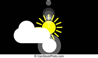 Sunshine and cloud icon animation with black background....