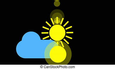 Sunshine and cloud icon animation with black background. Animation with Alpha transparent background for easy use in your video Format: Quik Time. Channels: RGB Alpha. Video Codec: Apple Pro Res 4444. Depth: Millions of Colors . Icon design. Video Animation. Bright Sun Isolated Cartoon Animation. Alpha channel.