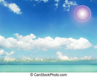 sunshine blue sky white cloud and aqua ocean
