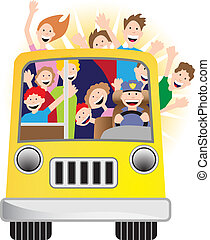 sunshine bus - people riding on a bus.