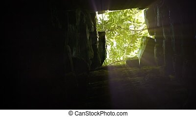 Sunshine Filters down a Shaft in an Ancient Temple Ruin....